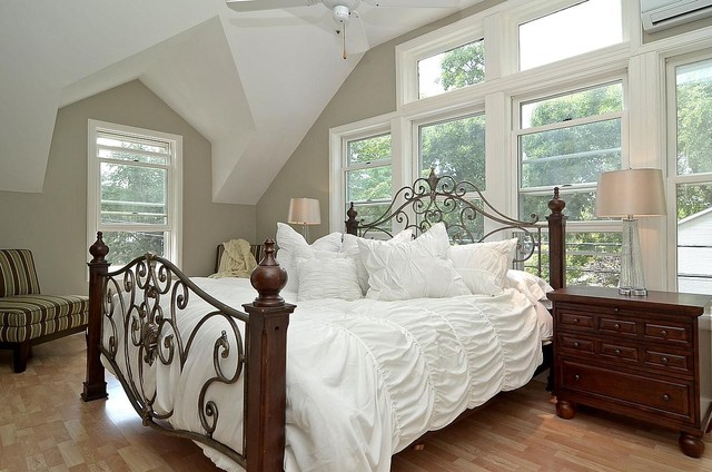 master bedroom neutral paint white bedding traditional bedroom