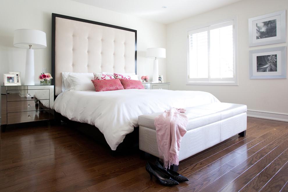 Example of a trendy master dark wood floor bedroom design in Toronto with white walls