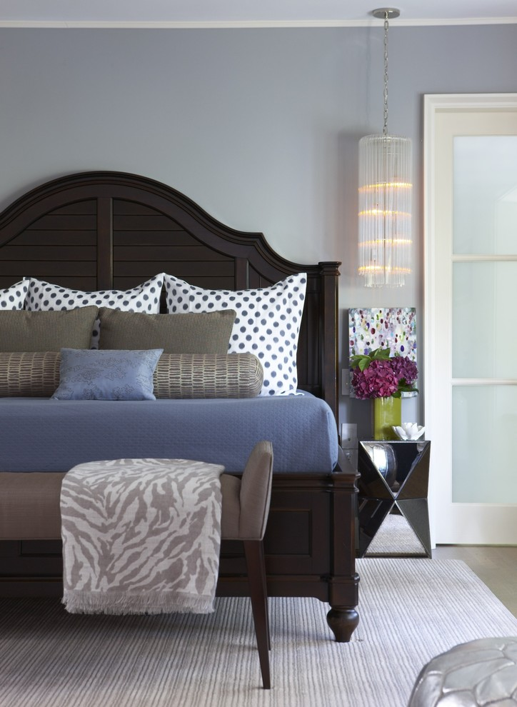 Inspiration for a mid-sized transitional carpeted bedroom remodel in Boston with gray walls and no fireplace