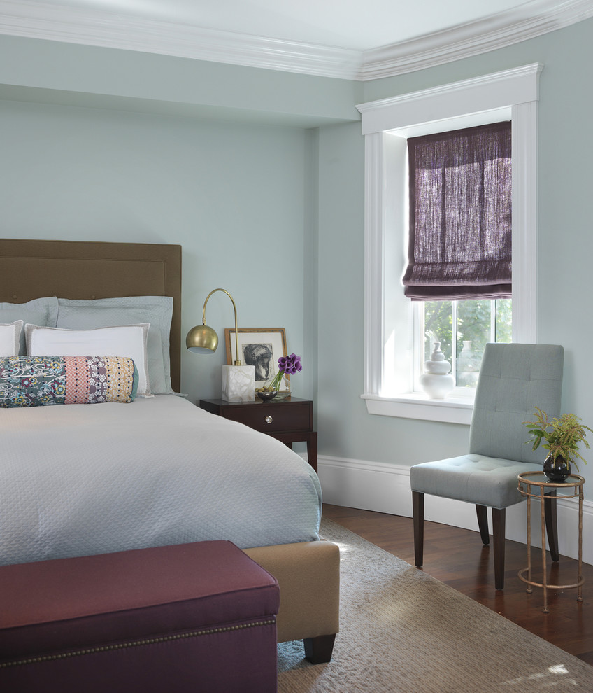 Example of a transitional medium tone wood floor bedroom design in Boston with blue walls and no fireplace
