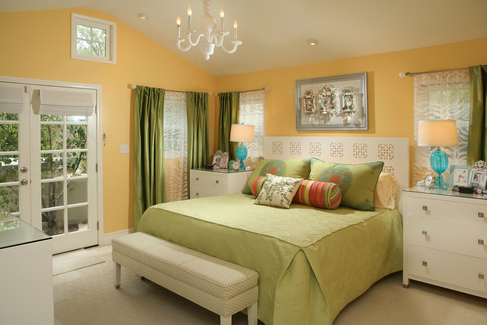Example of a trendy bedroom design in Los Angeles with yellow walls