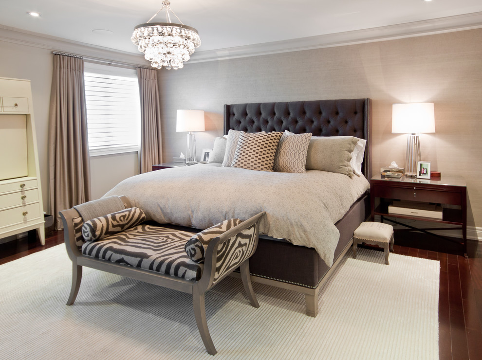 Transitional master dark wood floor bedroom photo in Toronto with no fireplace and gray walls