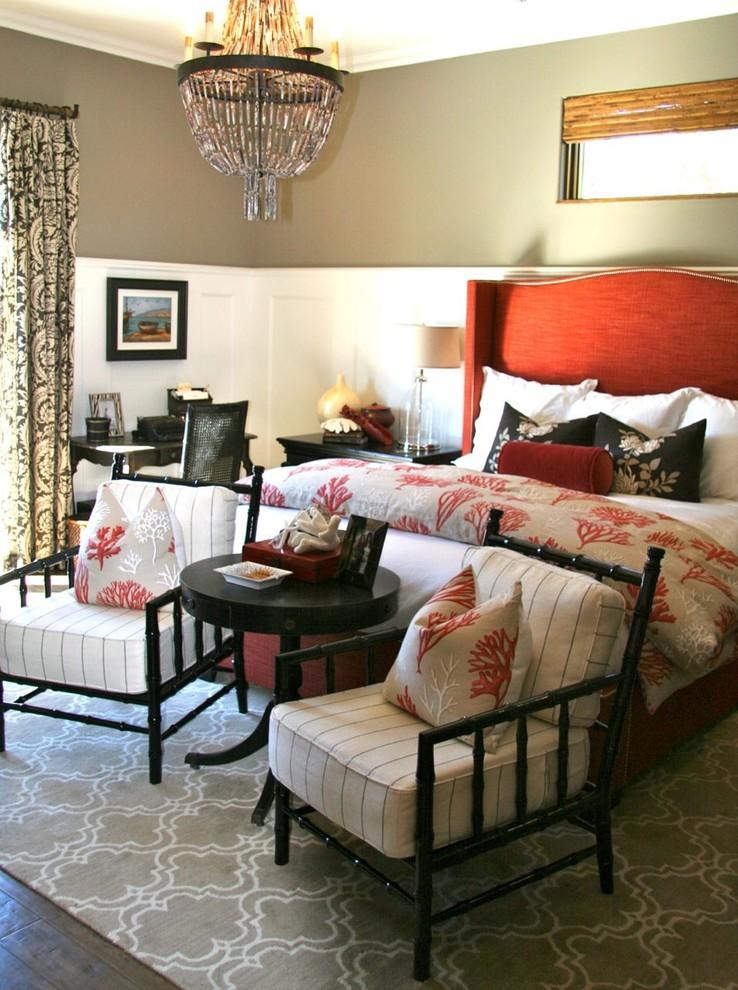 Tuscan master dark wood floor bedroom photo in San Francisco with beige walls