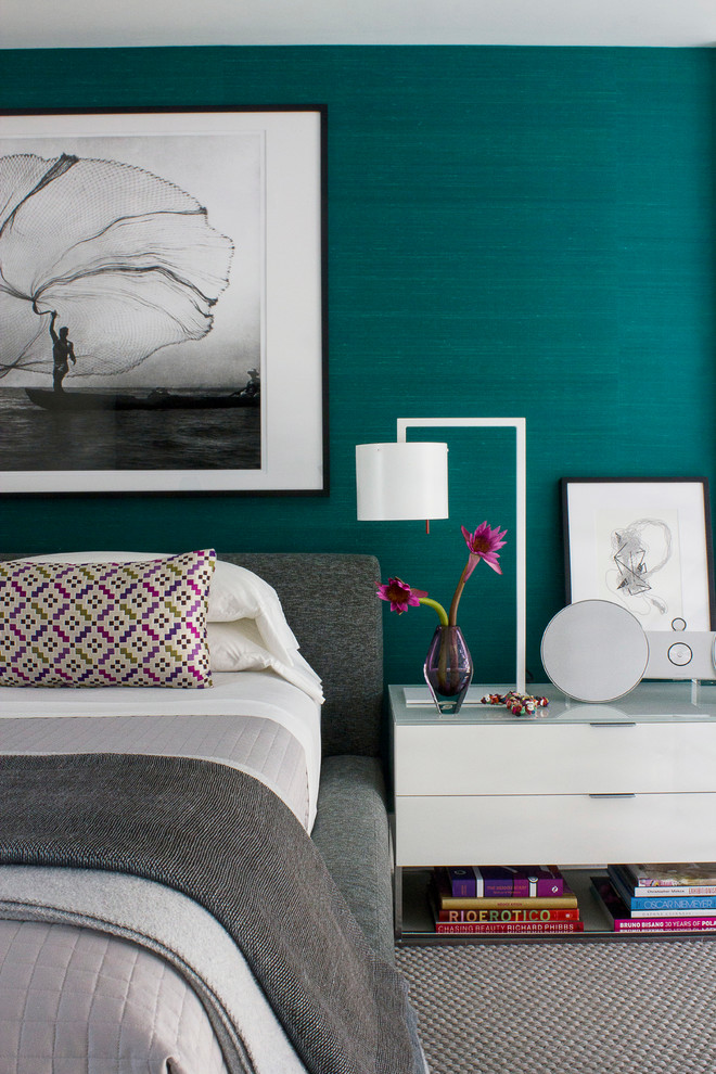 Mid-sized trendy bedroom photo in Miami with green walls and no fireplace