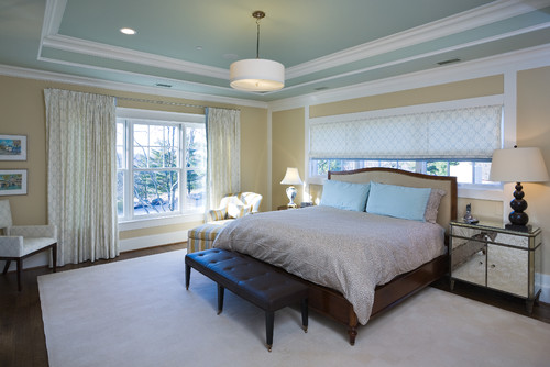 Is The Window Treatment Above The Bed One Long Roman Shade