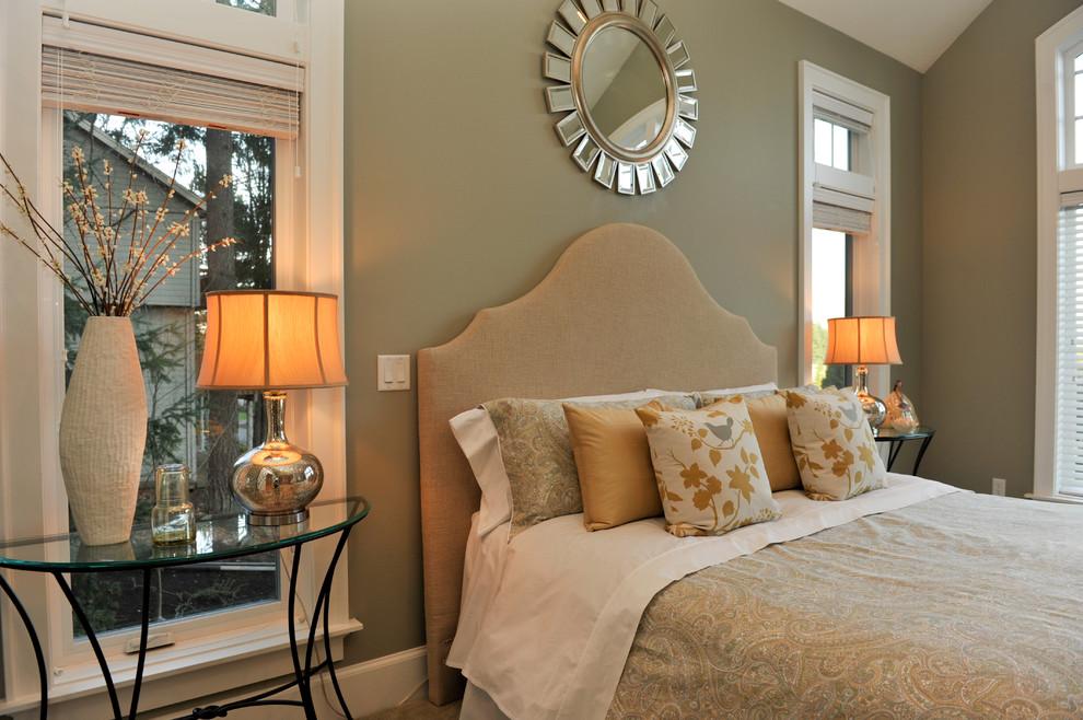 Bedroom - contemporary bedroom idea in Portland with beige walls