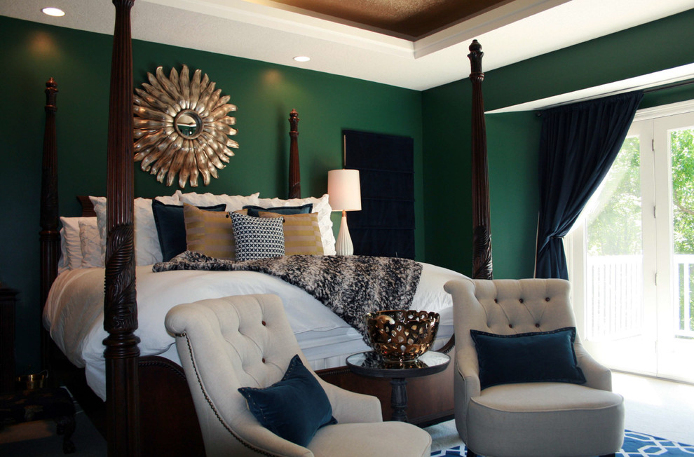 Mid-sized transitional master carpeted bedroom photo in Other with green walls and no fireplace