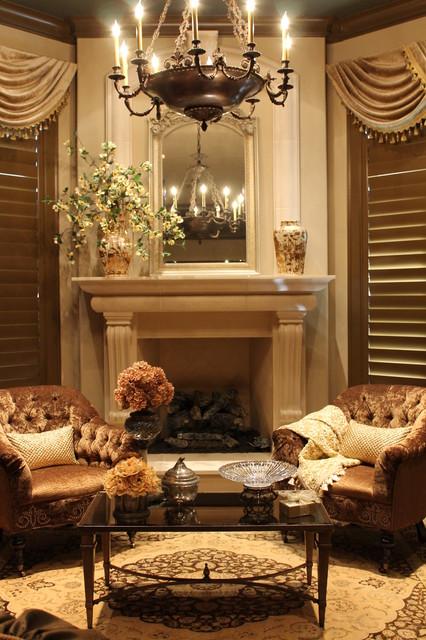 Example Of A Large Classic Master Dark Wood Floor Bedroom Design In Houston  With Beige Walls