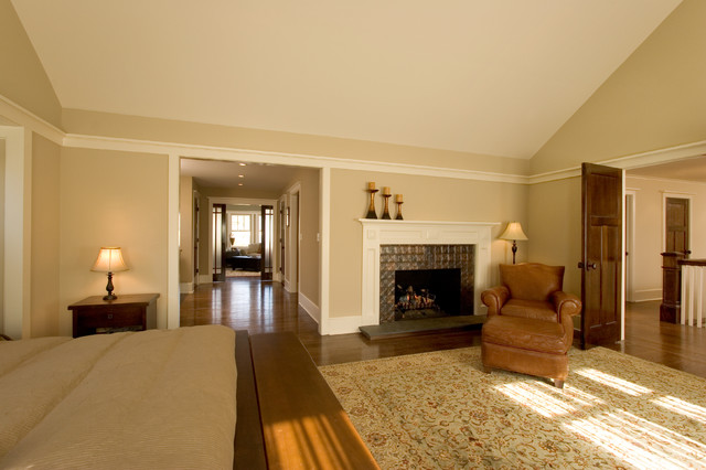 Master Bedroom Suite with Custom Fire Place and Sitting room. craftsman-bedroom