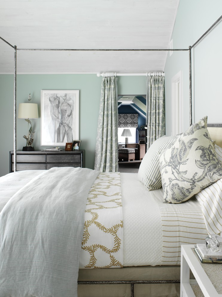 Large beach style guest bedroom photo in New York with green walls and no fireplace