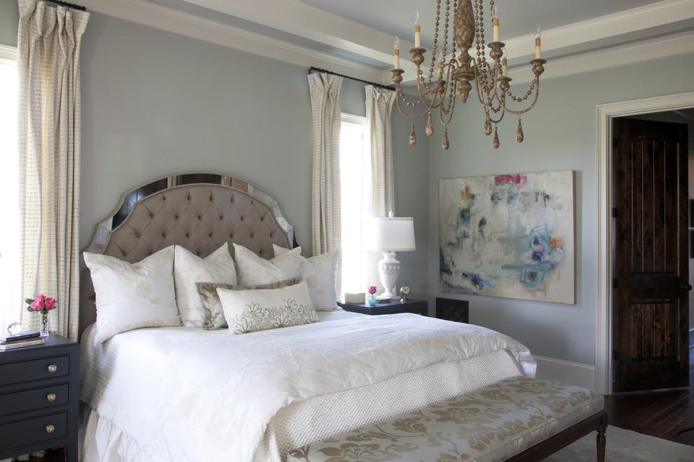Bedroom - traditional bedroom idea in Nashville with blue walls