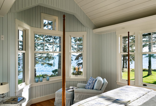 Traditional bedroom design by portland maine architect Should i paint wood paneling