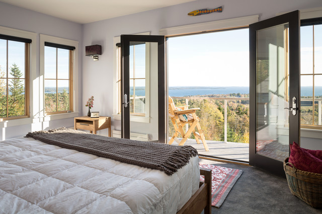 Master Bedroom With A Balcony Transitional Bedroom