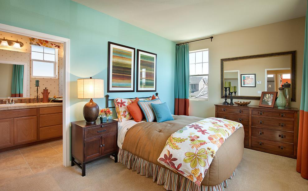 Bedroom - small contemporary master carpeted bedroom idea in Santa Barbara