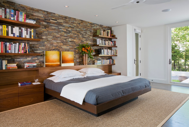 Master Bedroom With Built In Headboard And Storage Contemporary Bedroom