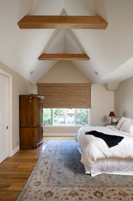 Master Bedroom With Cathedral Beamed Ceiling And Hardwood