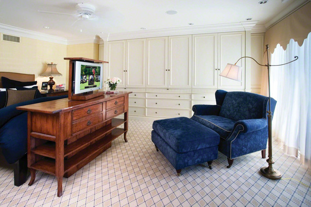 master bedroom with couch and pop up tv traditional bedroom new