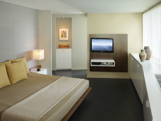 Master Bedroom With Custom Bed Media Center Contemporary - Bedroom design with lcd tv