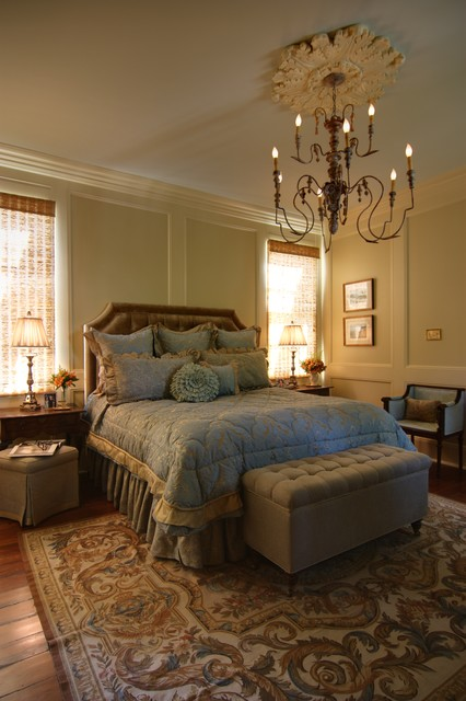Master Bedroom with Custom Headboard & Bedding traditional bedroom