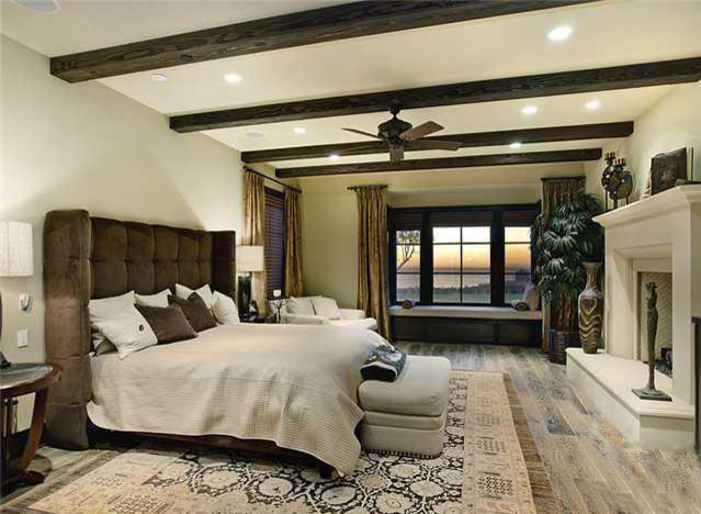Master Bedroom With Distressed Wood Floor Contemporary