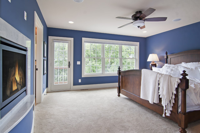 master bedroom with fireplace balcony traditional 12233 | traditional bedroom