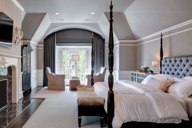 Master Bedroom With Grand Arched Motorized Shade And Custom Arched Panels Traditional