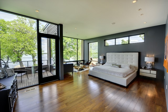 Master Bedroom With Lake View Contemporary Bedroom