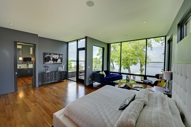 Master bedroom with lake view contemporary-bedroom
