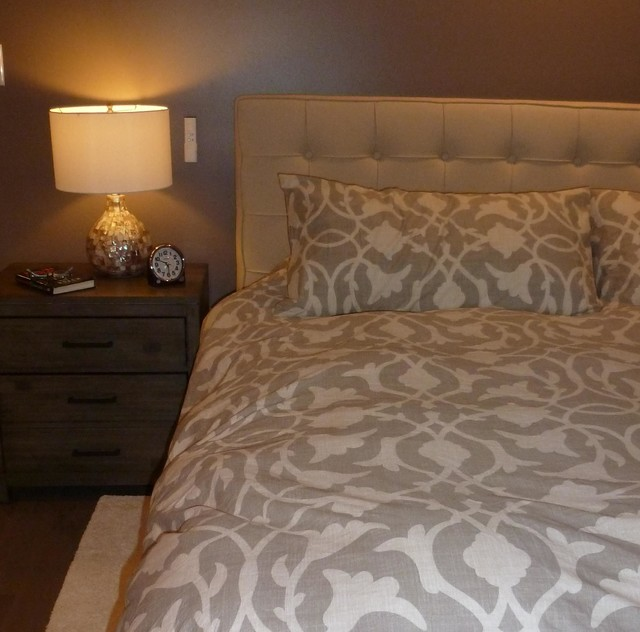 Master bedroom with linen upholstered headboard transitional bedroom philadelphia by Master bedrooms with upholstered beds