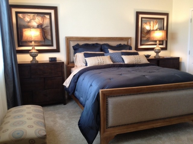 Master bedroom with linen upholstered headboard Master bedrooms with upholstered beds