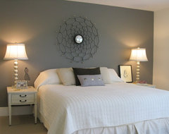 "Master bedroom with painted wall ""headboard"" eclectic-bedroom"