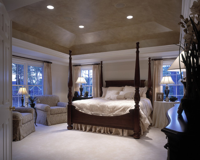 Master bedroom with tray ceiling shenandoah model Master bedroom ceiling lighting ideas