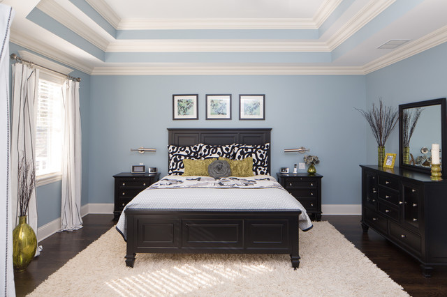 Master Bedroom With Triple Tray Ceiling - Traditional - Bedroom ...