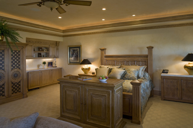 Master Bedroom With Tv Pop Up Cabinet At Foot Of Bed Mediterranean Bedroom Las Vegas By