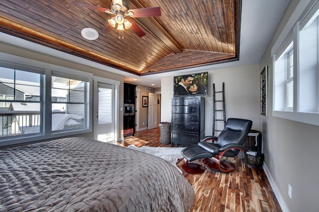 Master Bedroom With Vaulted Wood Ceiling Traditional