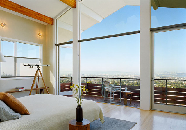bedroom with wall of glass and spectacular view contemporary bedroom
