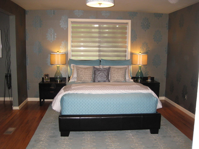 Master bedroom with wallpaper contemporary bedroom other by greene designs llc Modern wallpaper for bedroom