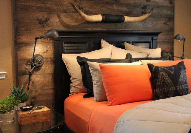 Master Bedroom With Wood Accent Wall Rustic Bedroom