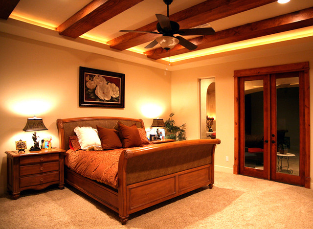 Master Bedroom With Wood Beams Mediterranean Bedroom