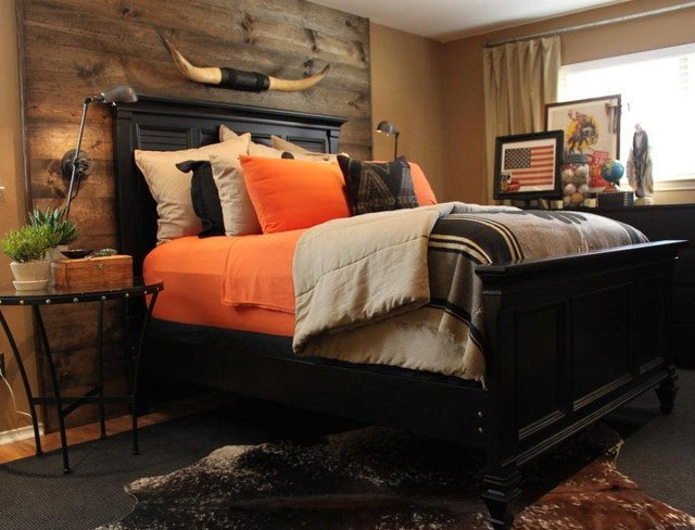 Master Bedroom Wood Accent Wall Eclectic Bedroom