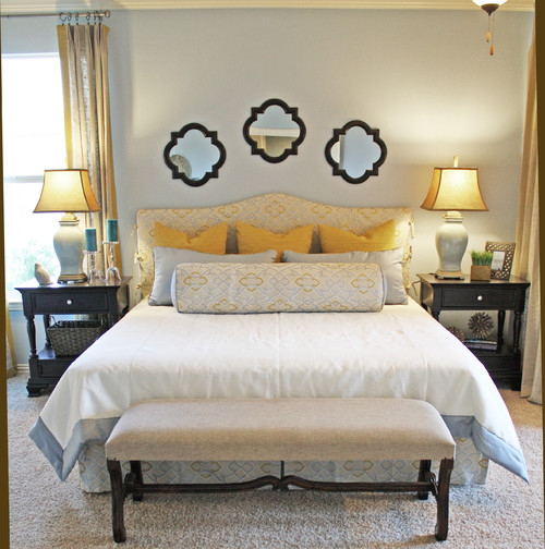 Traditional Bedroom in Yellow and Cream