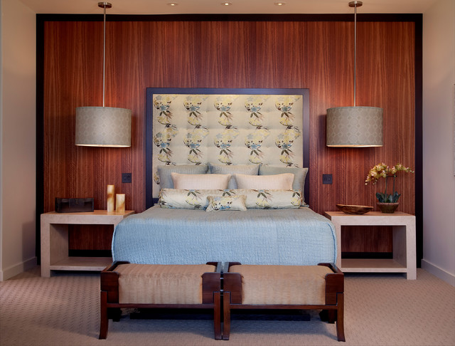 Inspiration for a contemporary master bedroom remodel in San Diego. Pendant Light Over Nightstand Ideas   Photos   Houzz