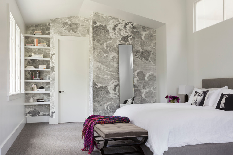 Bedroom - contemporary master carpeted bedroom idea in San Francisco with white walls