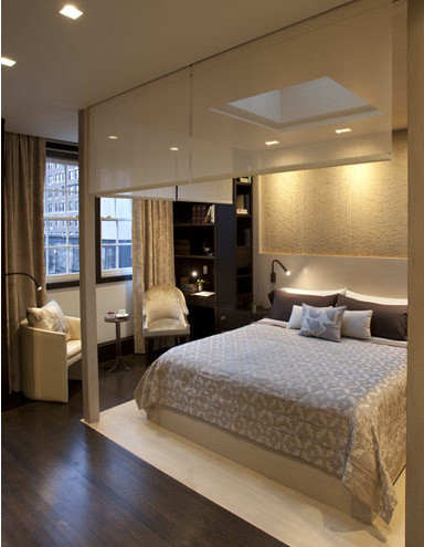 Master Suite Bed Stair Contemporary Bedroom New York By Perianth Interior Design