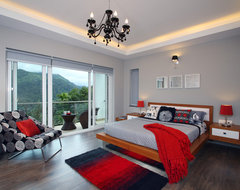 Master suite, Munnar Villa contemporary-bedroom
