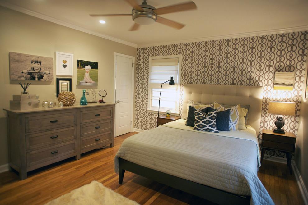 Bedroom - contemporary medium tone wood floor bedroom idea in Atlanta with beige walls