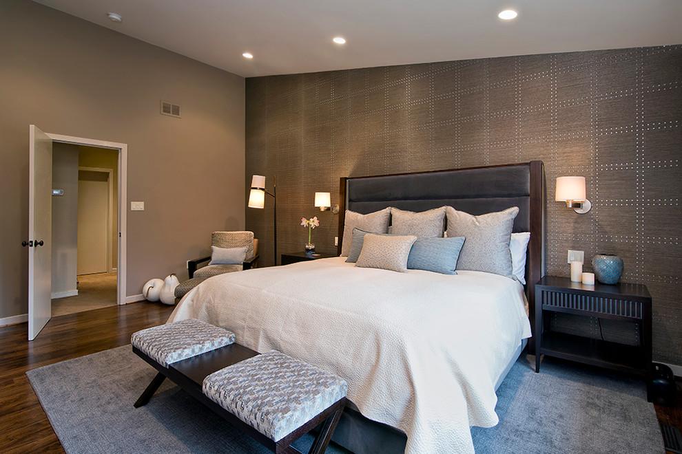 Bedroom - contemporary master dark wood floor bedroom idea in DC Metro with gray walls