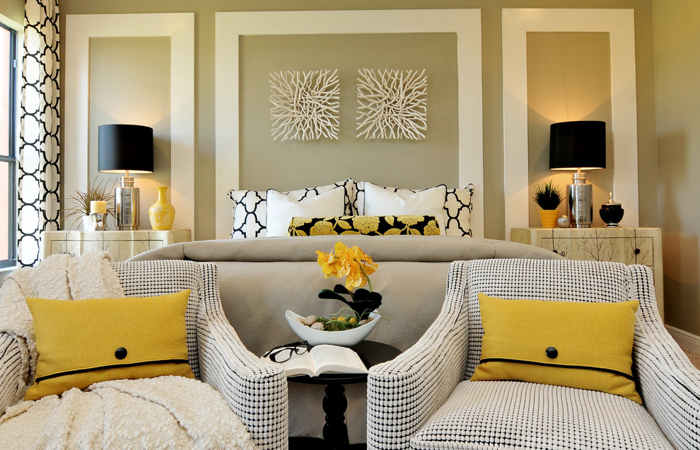 Inspiration for a contemporary master bedroom remodel in Orlando with beige walls