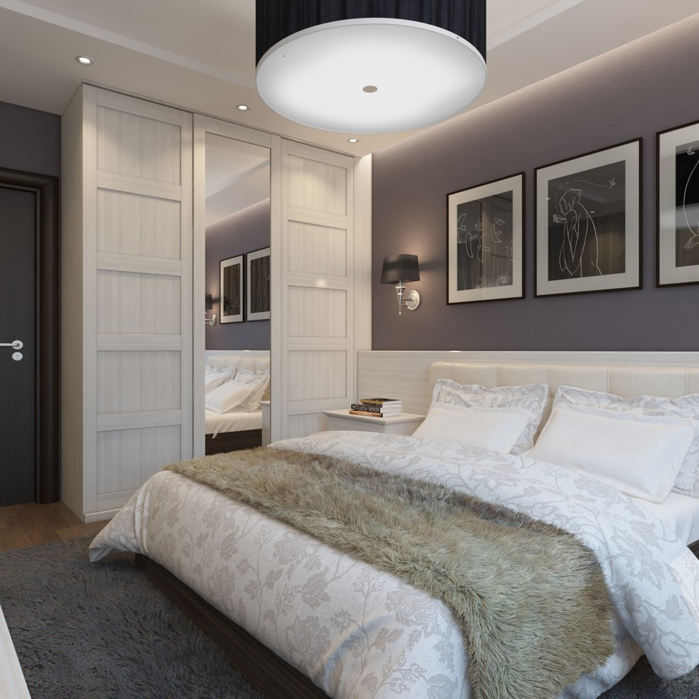 Transitional bedroom photo in Other with gray walls