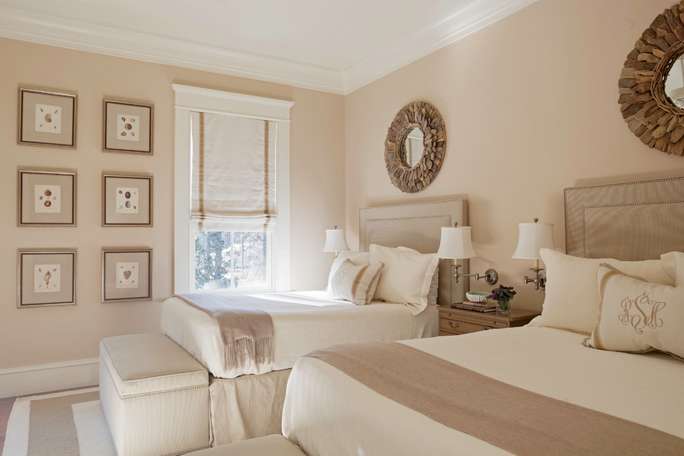 Inspiration for a timeless guest bedroom remodel in Atlanta with beige walls